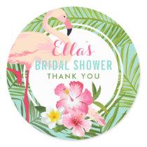 Bridal Shower   Tropical Flamingo Classic Round Sticker