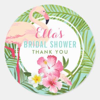 Bridal Shower | Tropical Flamingo Classic Round Sticker
