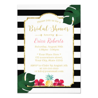 Bridal Shower Tropical Pineapple & Hibiscus Modern Card