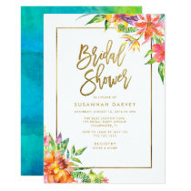 Bridal Shower | Tropical Watercolor Gold Script Invitation