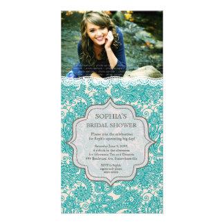 Bridal Shower Turquoise Lace Paisley Photo Invite