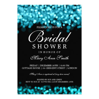 Bridal Shower Turquoise Lights Personalized Announcement