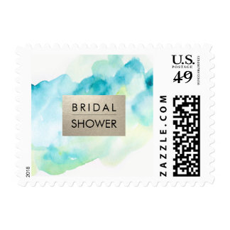 Bridal Shower Turquoise Watercolor Postage Stamps