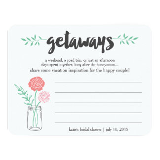 Bridal Shower Vacation Ideas Card | Mason Jar