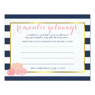 Bridal Shower Vacation Ideas Midnight Blush Peony Card