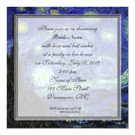 Bridal Shower,Vincent van Gogh, Starry Night Personalized Invitations