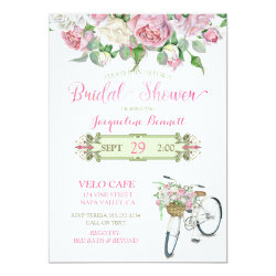 Bridal Shower Vintage Bicycle Basket Pink Roses Card