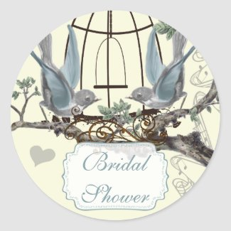 Bridal Shower Vintage Bluebird Wedding Seal