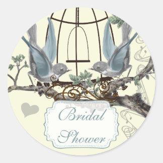 Bridal Shower Vintage Bluebird Wedding Seal Classic Round Sticker