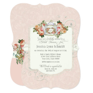 Bridal Shower Vintage Elegant Rose Floral Shaped Card