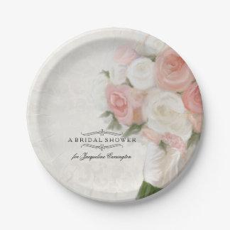 Bridal Shower Vintage English Rose Bouquet Damask Paper Plate