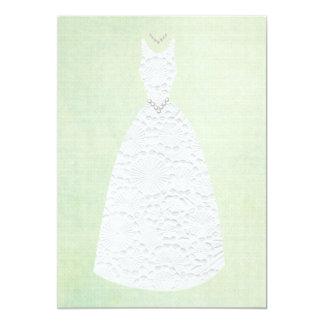 Bridal Shower Vintage Green White Wedding Dress Card