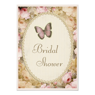 Bridal Shower Vintage Pearls Lace Roses Butterfly Card