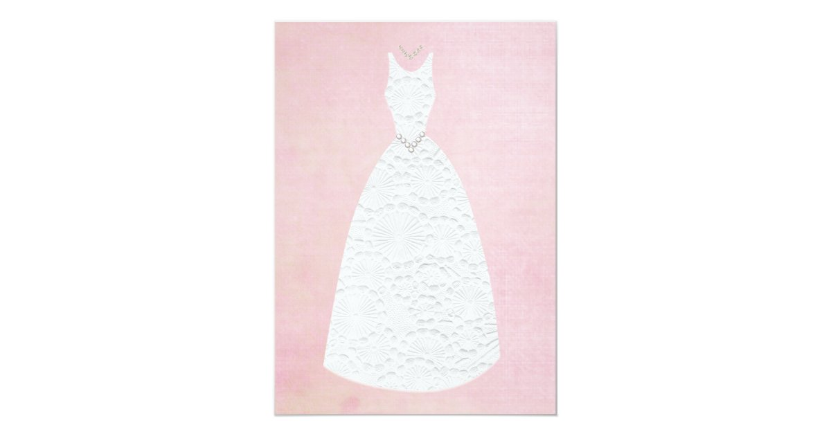Vintage Wedding Dresses Bath : Bridal shower vintage pink white wedding dress card zazzle
