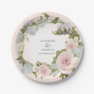 Bridal Shower Vintage Pretty Rose Floral Wreath Paper Plate