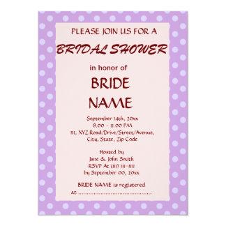 Bridal Shower - Violet Polka Dots, Pink Background Card