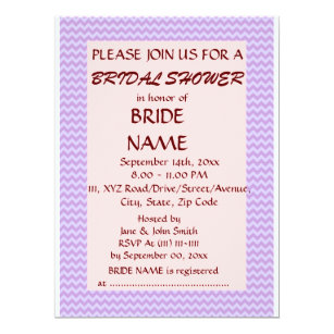 Violet zigzag invitations announcements zazzle bridal shower violet zigzag pink background invitation stopboris Choice Image