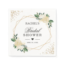 Bridal Shower Watercolor Chic Gold Glitters Floral Napkin