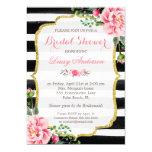 Bridal Shower Watercolor Floral Gold Glitter Decor 5x7 Paper Invitation Card