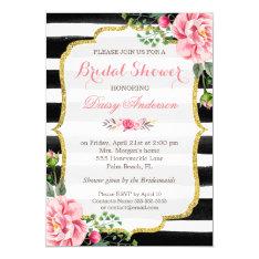 Bridal Shower Watercolor Floral Gold Glitter Decor Card at Zazzle