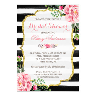 Bridal Shower Watercolor Floral Gold Glitter Decor Card