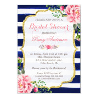 Bridal Shower Watercolor Floral Navy Blue Stripes Card