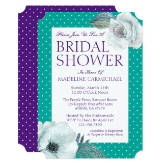 Bridal Shower Watercolor Flower Polka Dots Card