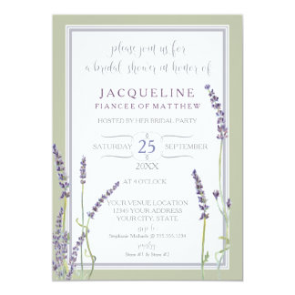 Bridal Shower Watercolor French Lavender Flowers Card