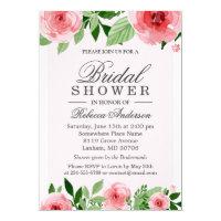 Bridal Shower Watercolor Rose Flowers Botanical Card