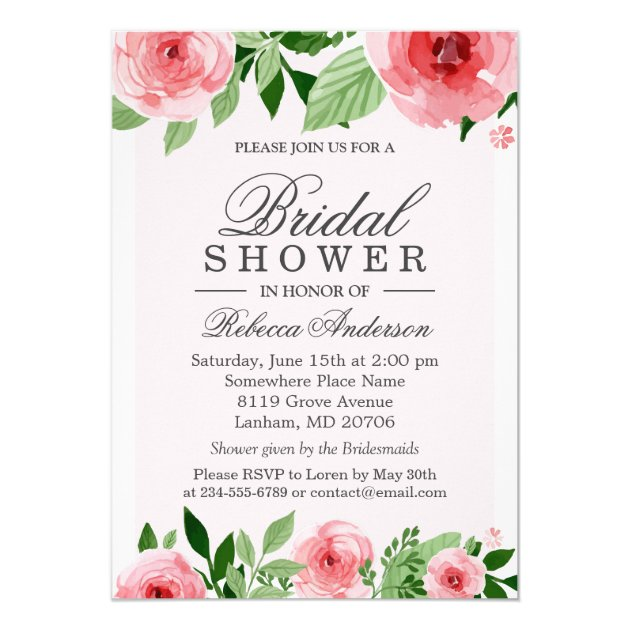 Bridal Shower Watercolor Rose Flowers Botanical Card