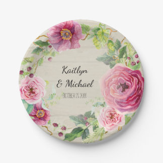 Bridal Shower Watercolor Rustic Wreath Peony Rose Paper Plate