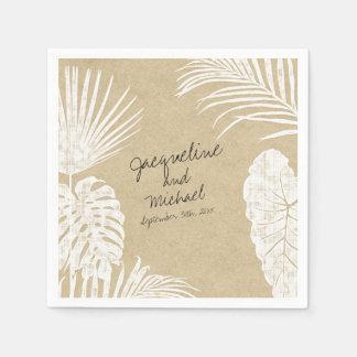 Bridal Shower Watercolor Tropical Leaf Kraft Art Napkin