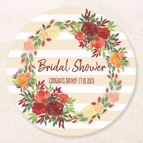 Bridal Shower Watercolor Wedding Roses Wreath Round Paper Coaster