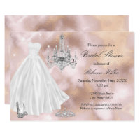 Bridal Shower Wedding Dress Beige Marble White Invitation