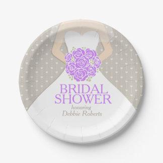Bridal shower wedding dress custom paper plates 7 inch paper plate