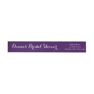 Bridal Shower Wedding Envelope Purple Wrap Around Label