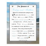 Bridal Shower Wedding Libs Game - Beach Full Color Flyer