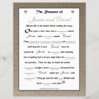 bridal shower wedding libs game burlap