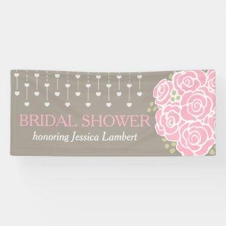 Bridal shower wedding posy name banner