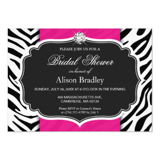 Bridal Shower Wedding Shower Zebra Print Hot Pink Card