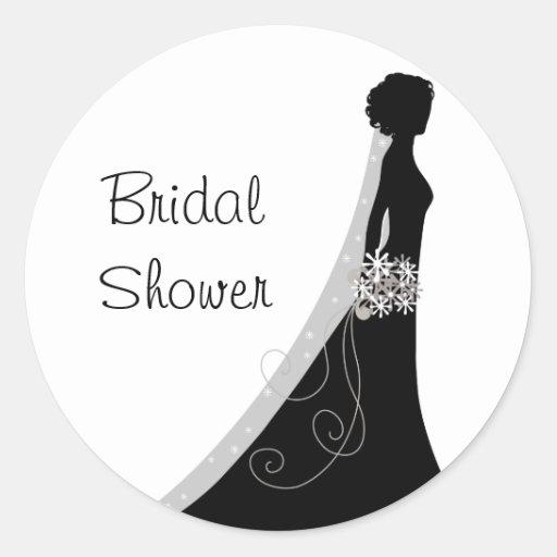 Bridal Shower Silhouette Clip Art Bridal shower wedding stickers