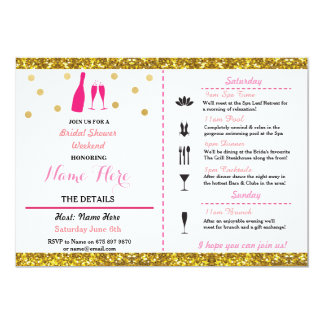 Bridal Shower Weekend Itinerary Champagne Invite