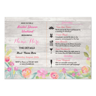 Bridal Shower Weekend Itinerary Pink Coral Invite