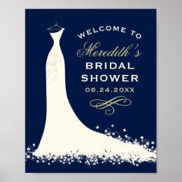 Bridal Shower Welcome   Elegant Wedding Gown Poster