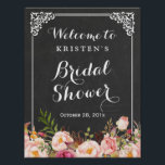 "Bridal Shower Welcome Sign Chalkboard Frame Flower<br><div class=""desc"">================= ABOUT THIS DESIGN ================= Bridal Shower Welcome Sign Chalkboard Frame Floral Poster. (1) The default size is 8.5 x 11 inches, you can change it to any size. (2) All text style, colors, sizes can be modified to fit your needs. (3) If you need any customization or matching items,...</div>"