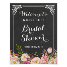 Bridal Shower Welcome Sign Chalkboard Frame Flower at Zazzle