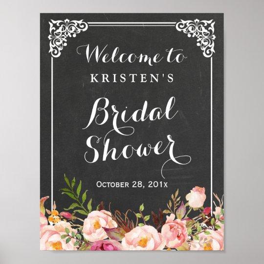 bridal shower welcome sign chalkboard frame flower zazzle com