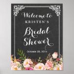 Bridal Shower Welcome Sign Chalkboard Frame Flower Poster