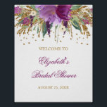 "Bridal Shower Welcome Sign Floral Glitter Amethyst<br><div class=""desc"">Matching collection in the Little Bayleigh store! We have used artwork from: www.createthecut.com</div>"