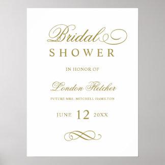 Bridal Shower Welcome Sign   Gold Elegant